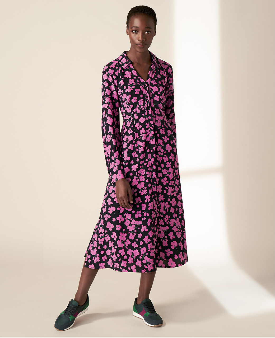 Hobbs Easy Care Pink Floral Print Midi Dress