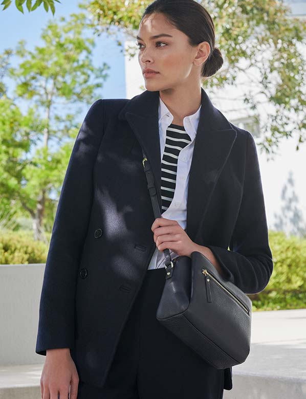 Navy workwear jacket with stripe top
