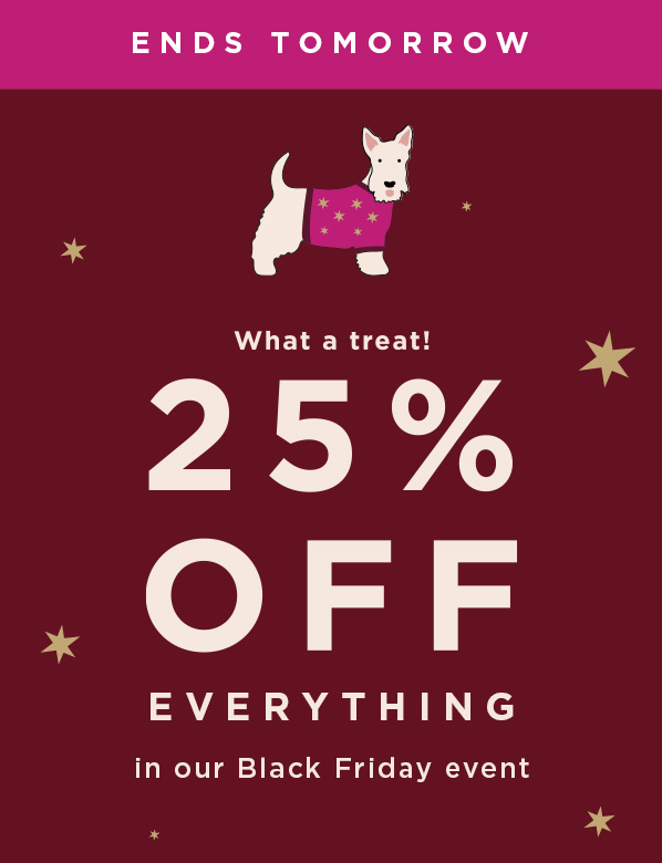 Black Friday Offer 25 Percent Off Everything Ends Tomorrow