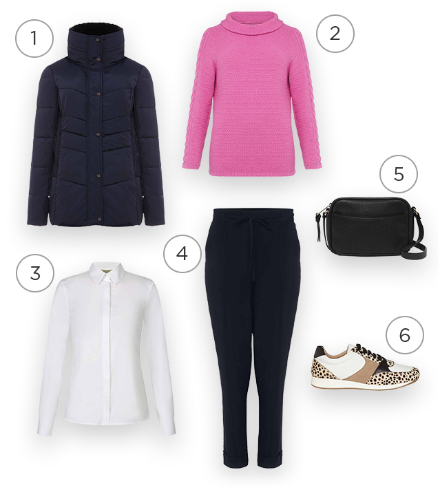 Collage of a navy puffer jacket, pink jumper, navy joggers, white shirt, leopard print trainers and a black bag that together create an outfit.
