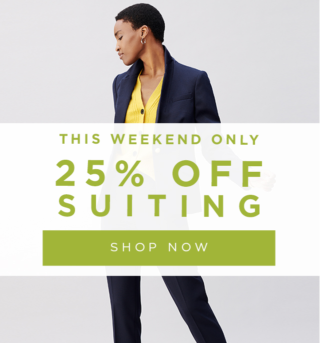25% Off Suiting. Navy Trousers Suit with Yellow Cardigan