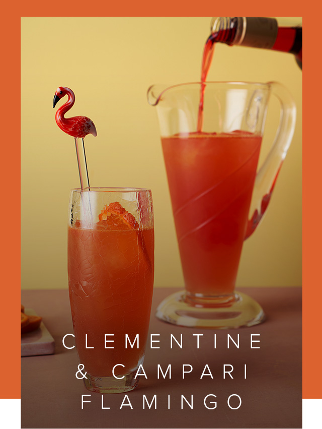 A glass of Clementine & Campari Flamingo