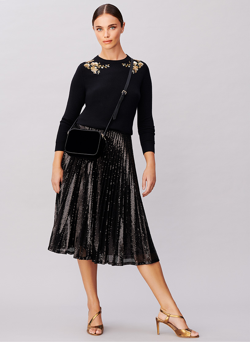 Black Jumper with Gold Sequin Embroidery over Black Pleated Sequin Skirt and Gold Sandal