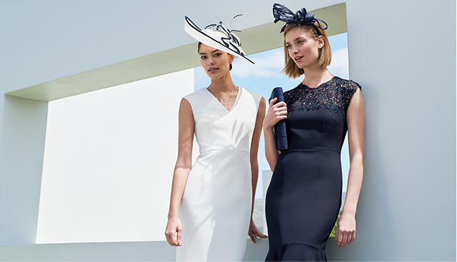 White occasion dress and navy occasion dress paired with matching fascinators by Hobbs.