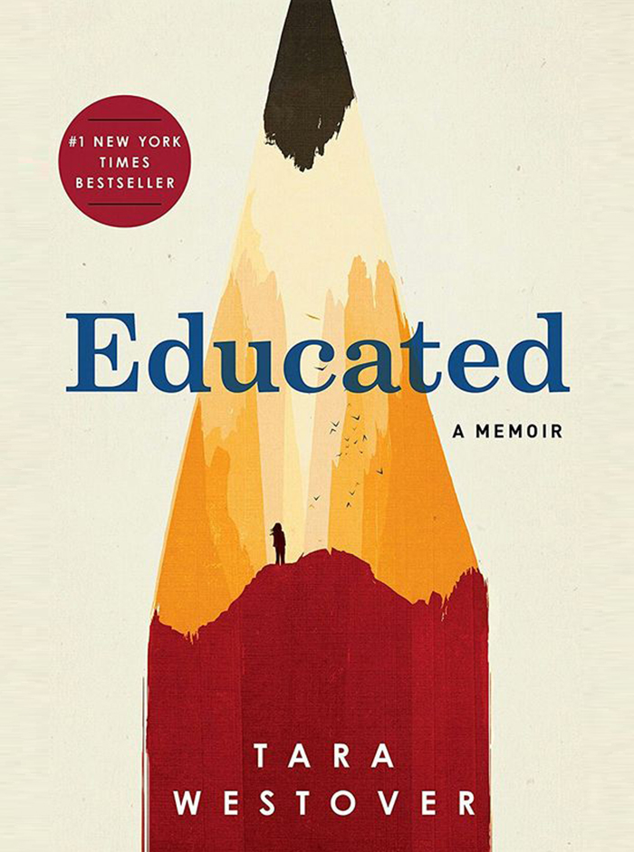 Front cover Art of Educated by Tara Westover featuring a watercolour image of a pencil