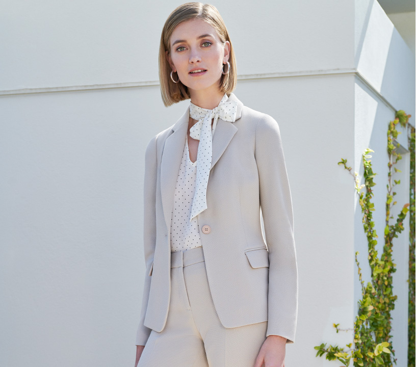 Neutral Suiting Jacket with Spot Blouse