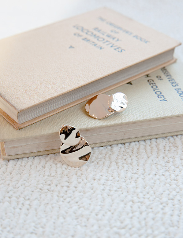 Gold Earrings and Books