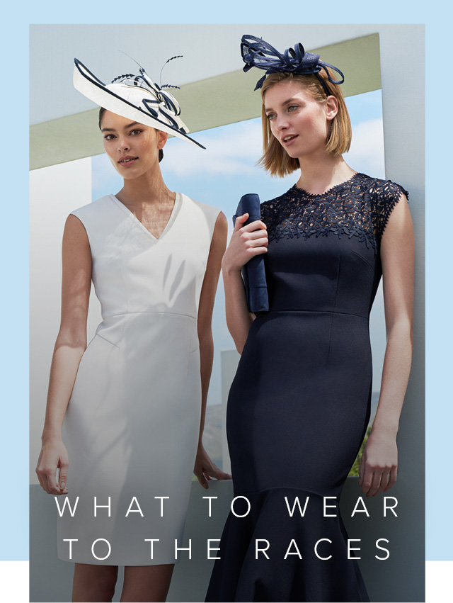 White occasion dress and navy occassion dress with matching fascinators by Hobbs. Perfect for a race day outfit.