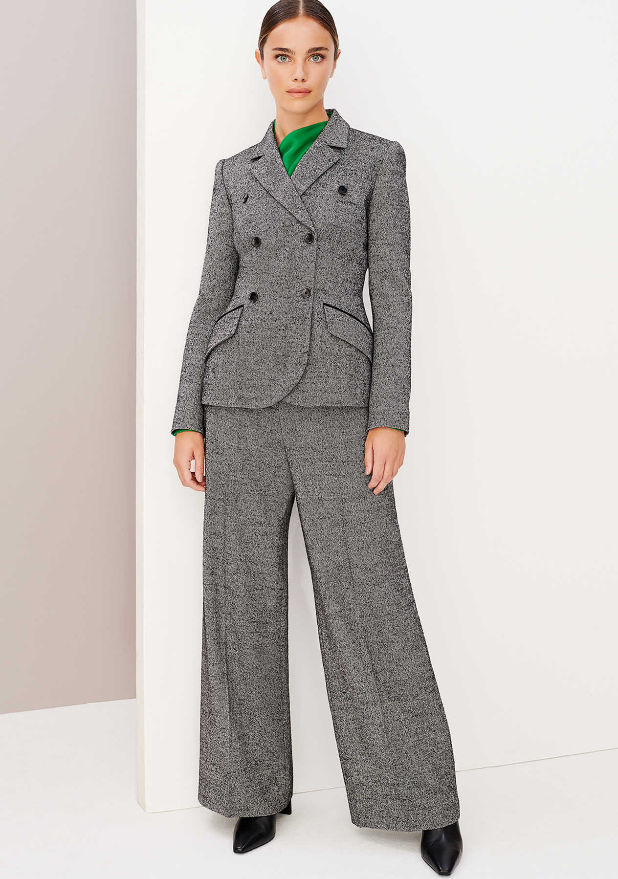Hobbs London Grey Wool Wide Legged Suit with a jade green silk blouse.