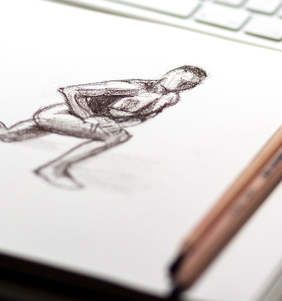 Online drawing classes, charcoal nude on white paper