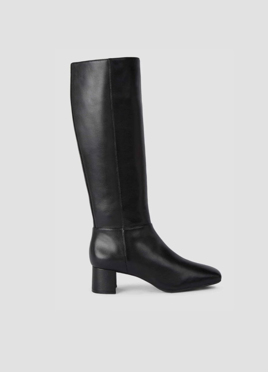 Women's leather mid-heeled knee-high leather boot in black from Hobbs.