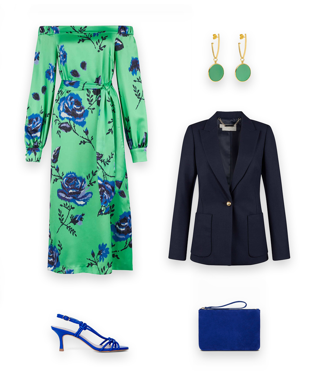 Perfect for the evening, style the Hobbs Martina Blazer with a midi green dress, blue heeled sandals and matching clutch bag