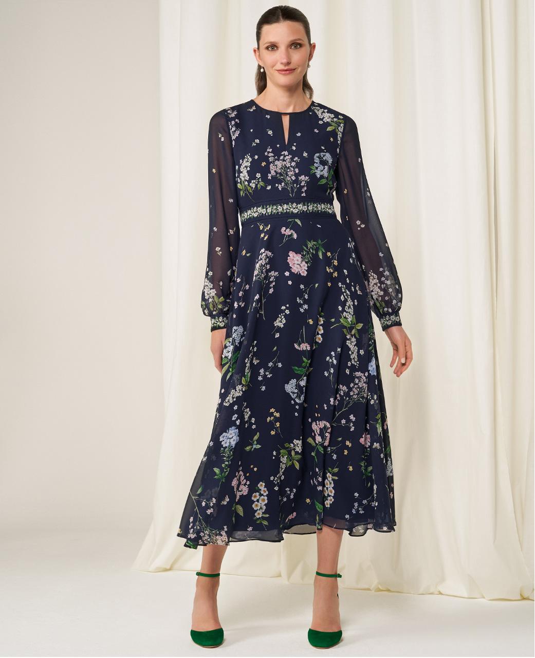 Hobbs Wedding Collection Navy Midi Floral Print Dress