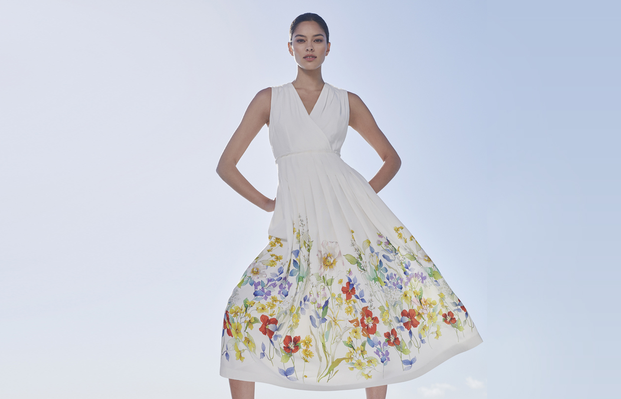 White midi dress with floral details by Hobbs.