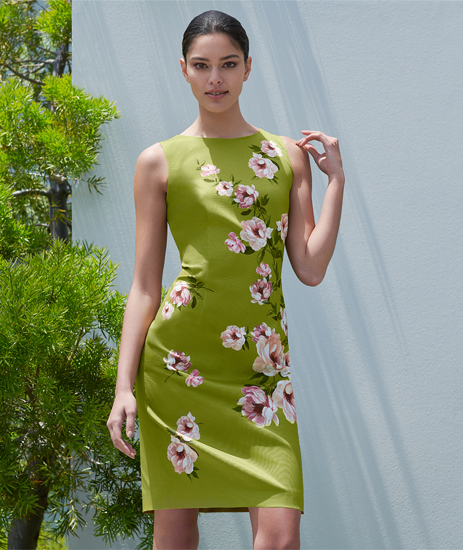 Floral print shift dress in spring green by Hobbs.