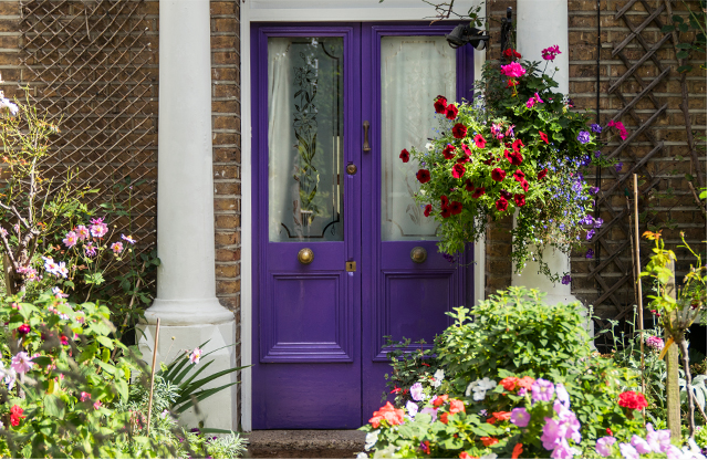 A purple fromt door at Hobbs At home