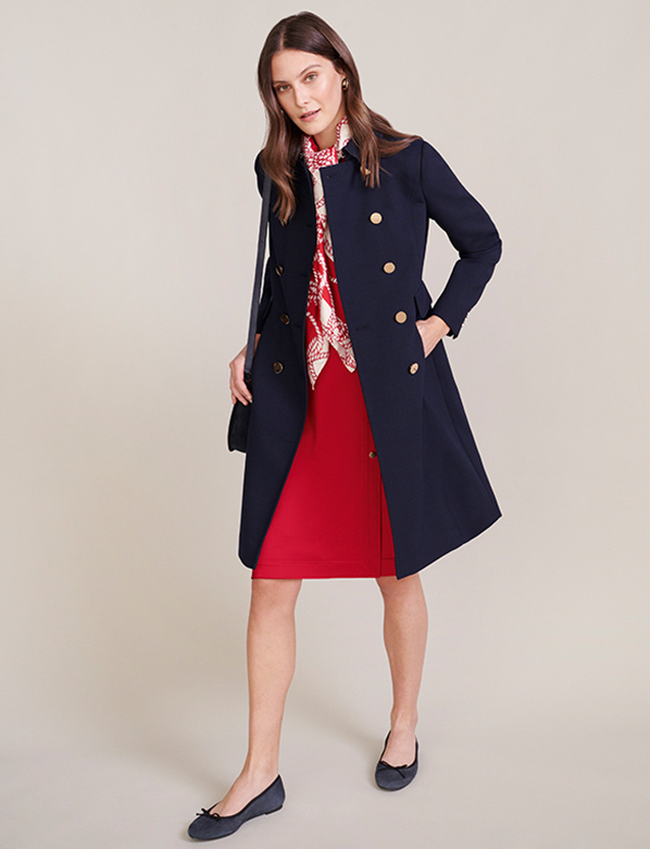 Navy Military Coat over Red Fit and Flare Dress with Red Rop Print Scarf