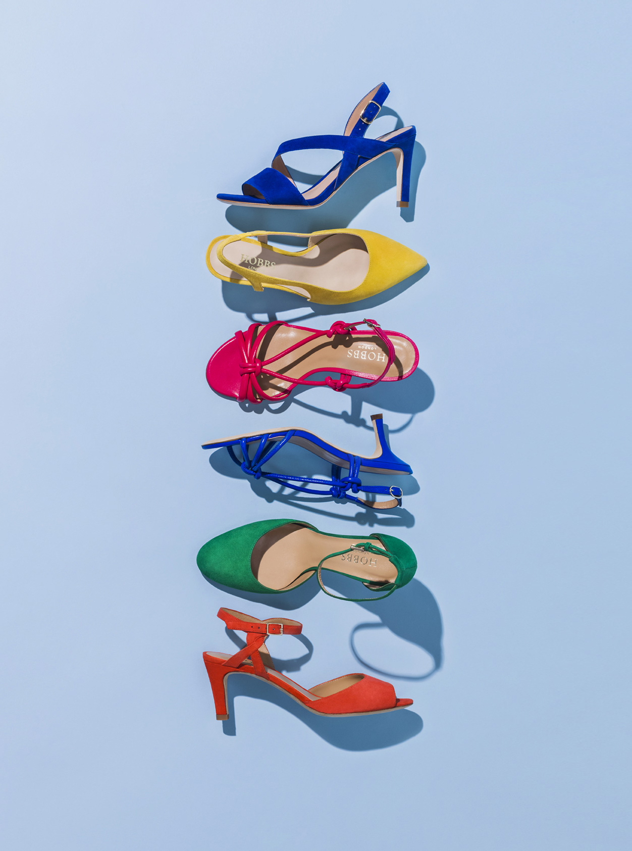 Heeled sandals by Hobbs in an array of bright and bold colours such as blue, yellow, pink, green and orange. Pair these colourful sandals with an elegant occasion dress or a smart trouser suit with a blazer for a contemporary look.