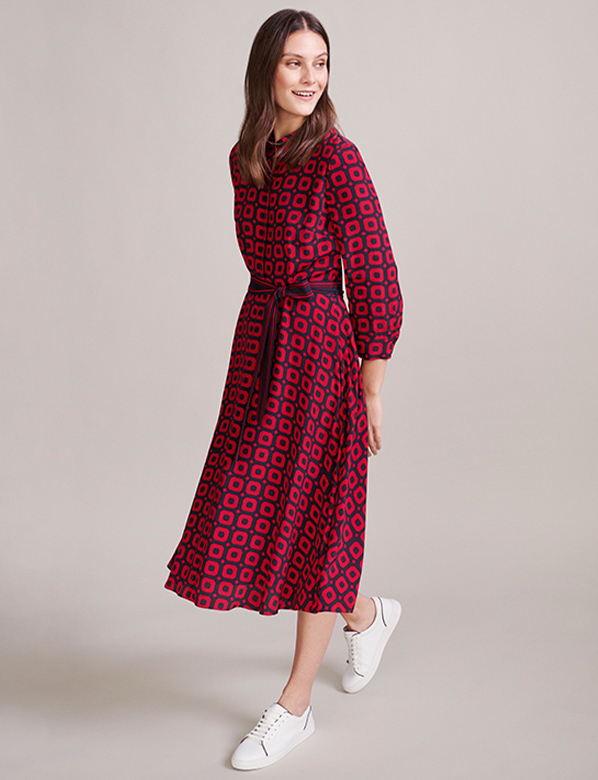 Petite Geomentric Print Red Midi Dress