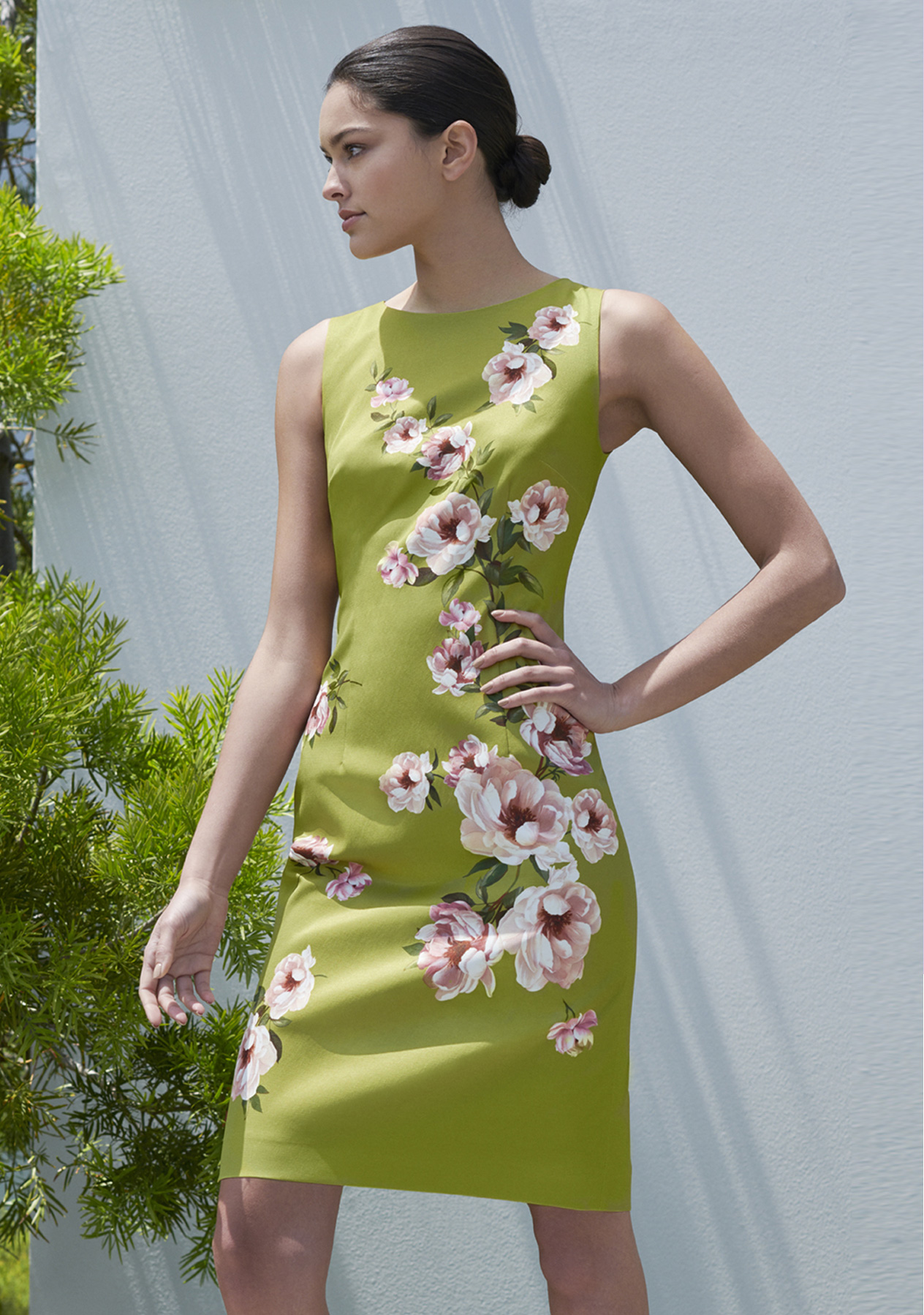 Floral print shift dress in spring green by Hobbs, ideal for a mother of the bride outfit.