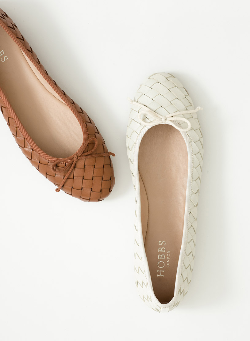 White and Brown Ballerina Flat Shoes