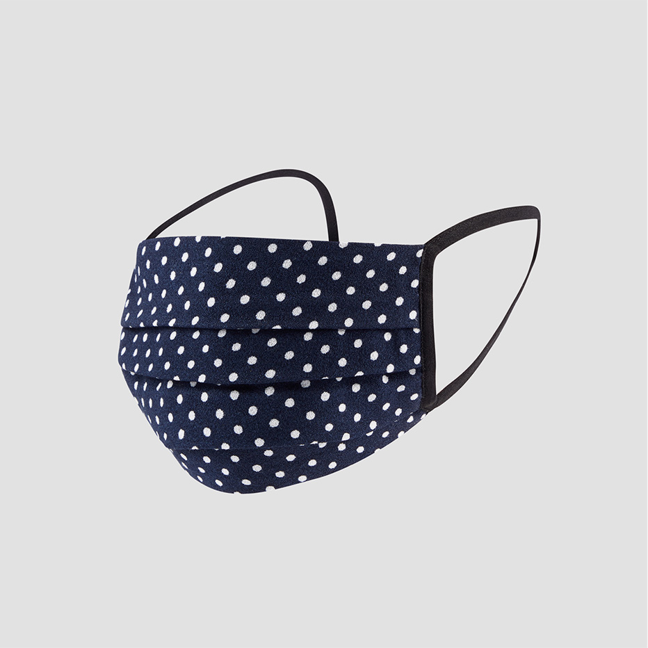 The Hobbs non medical, navy blue and white spotted fabric face mask.