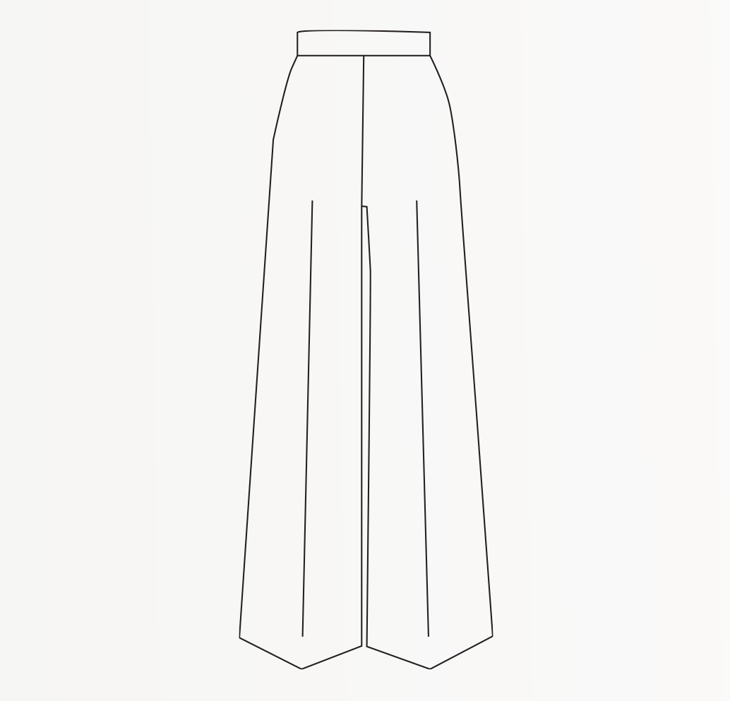 Drawing of wide leg women's trousers.