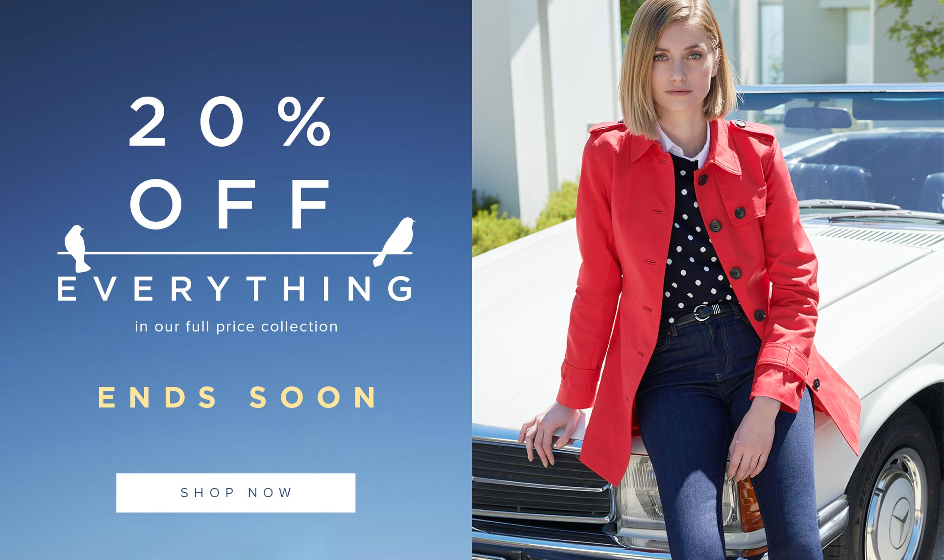 Hobbs Red Trench Coat, Jeans and Spot Jumper with Car