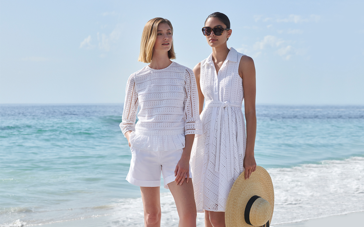 White Borderie Dress and Top Summer Outfits