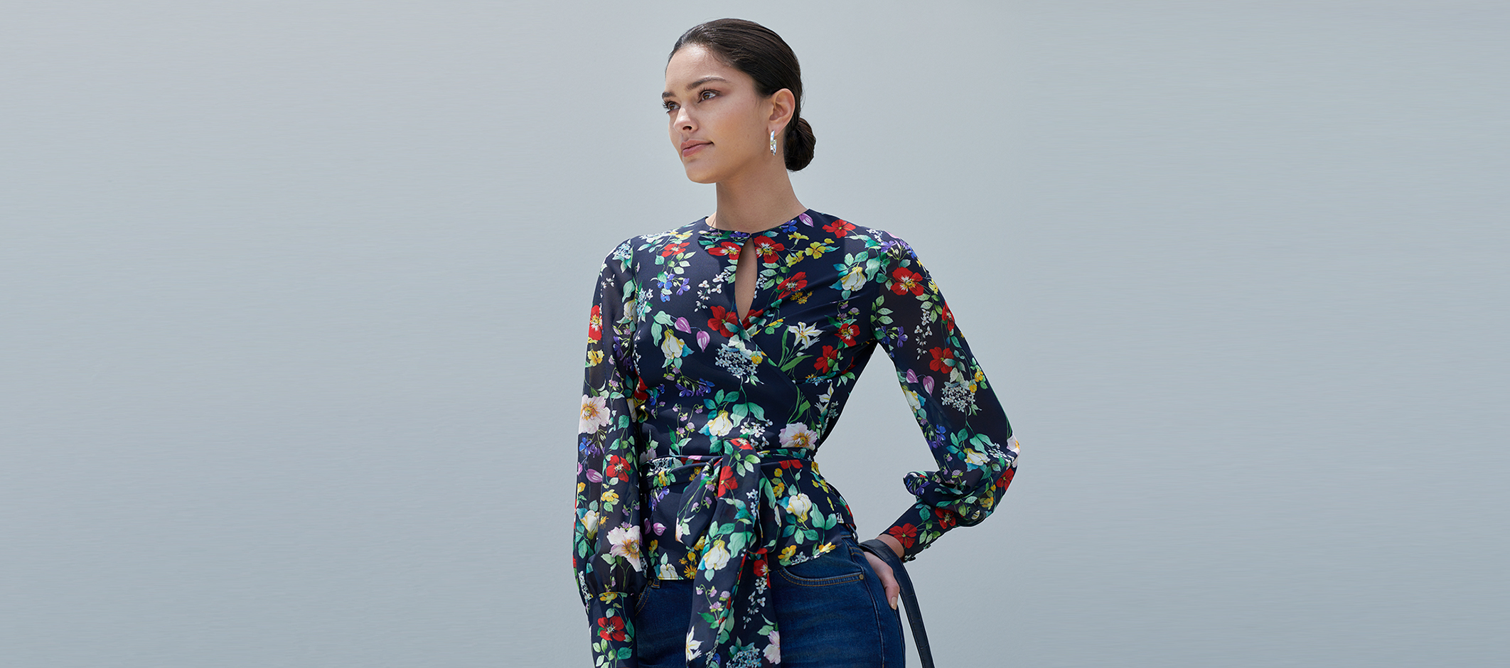 Floral Occasion Blouse With Long Sleeves