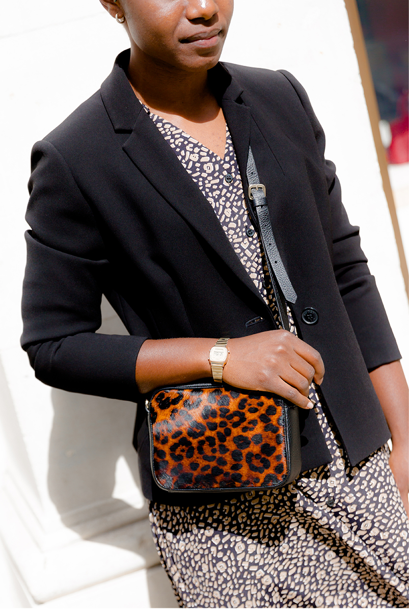 hobbs alva black suit jacket with leopard print shirt dress with leopard ankle boots and cross body bag
