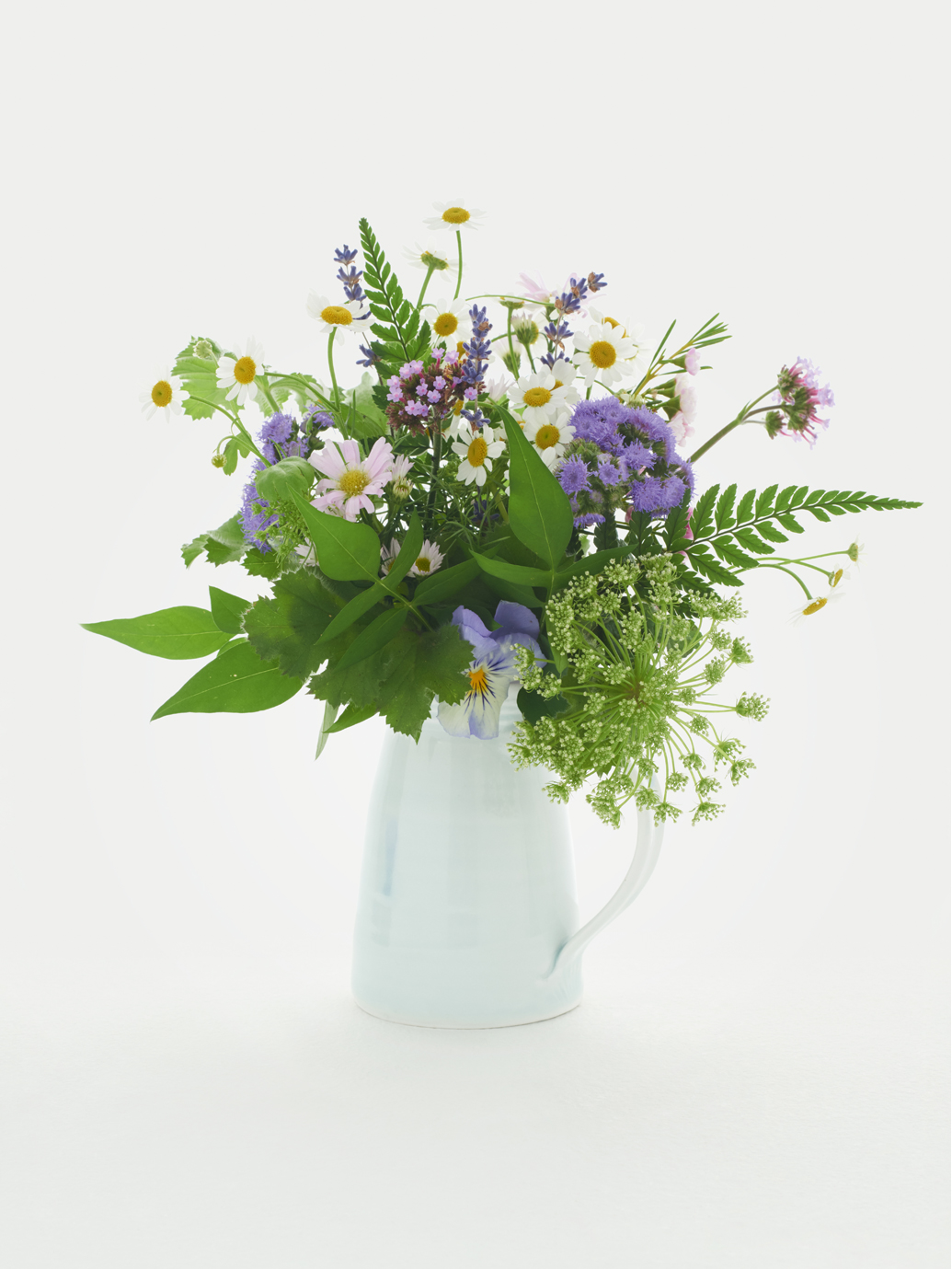 A bunch of blue and white wildflowers and ferns, artfully arranged in a white jug .