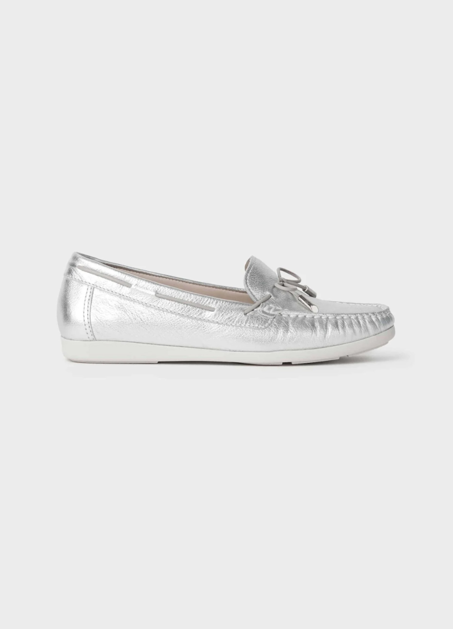 Silver moccasin flat shoe from Hobbs.