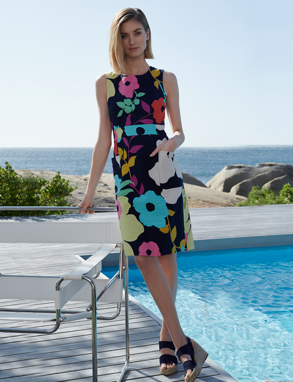 Poolside navy summer dress with multicolour floral print