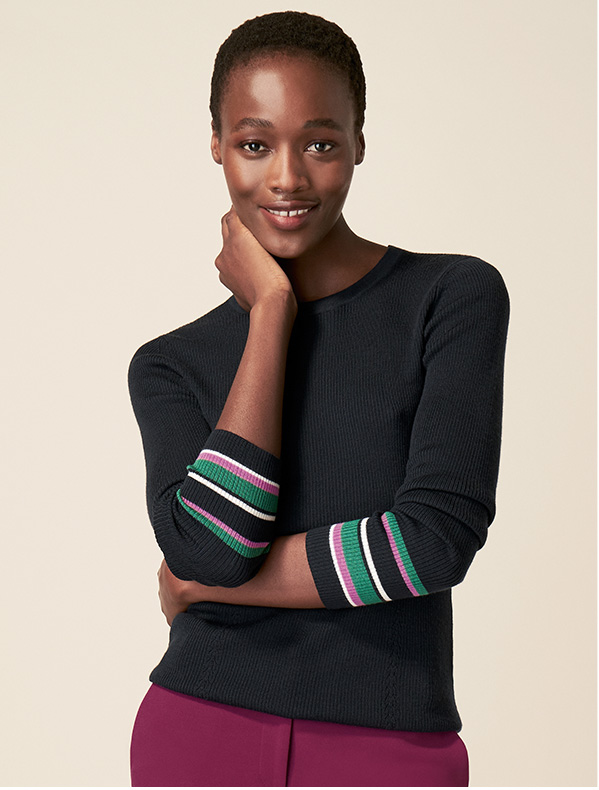 Hobbs Easy Care Navy Jumper with Striped Detail Sleeves