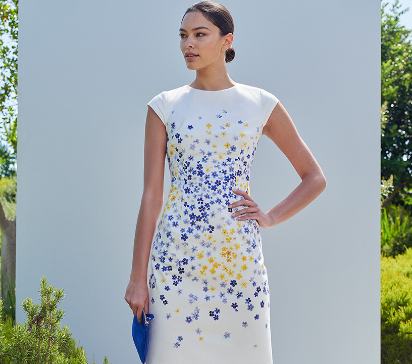 Formal Ivory Shift Dress with Blue and Yellow Floral Print
