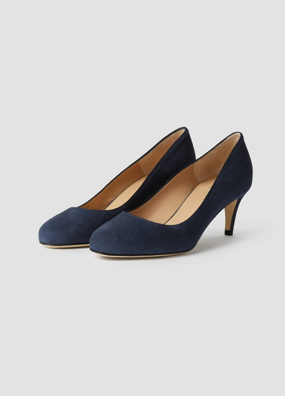 Navy low heeled court shoes from Hobbs.