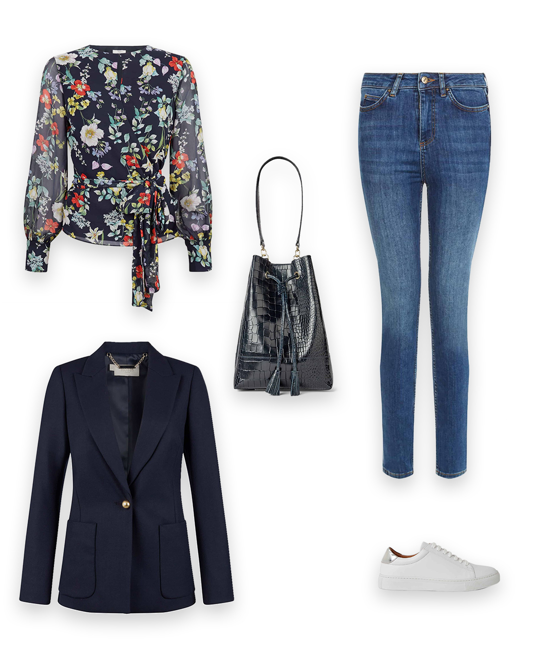 The Hobbs Everyday Casual Look, styling a the meadow blouse, a navy blue floral print wrap blouse with a dark denim slim jeans, a navy blazer with white leather trainer and navy leather bucket handbag