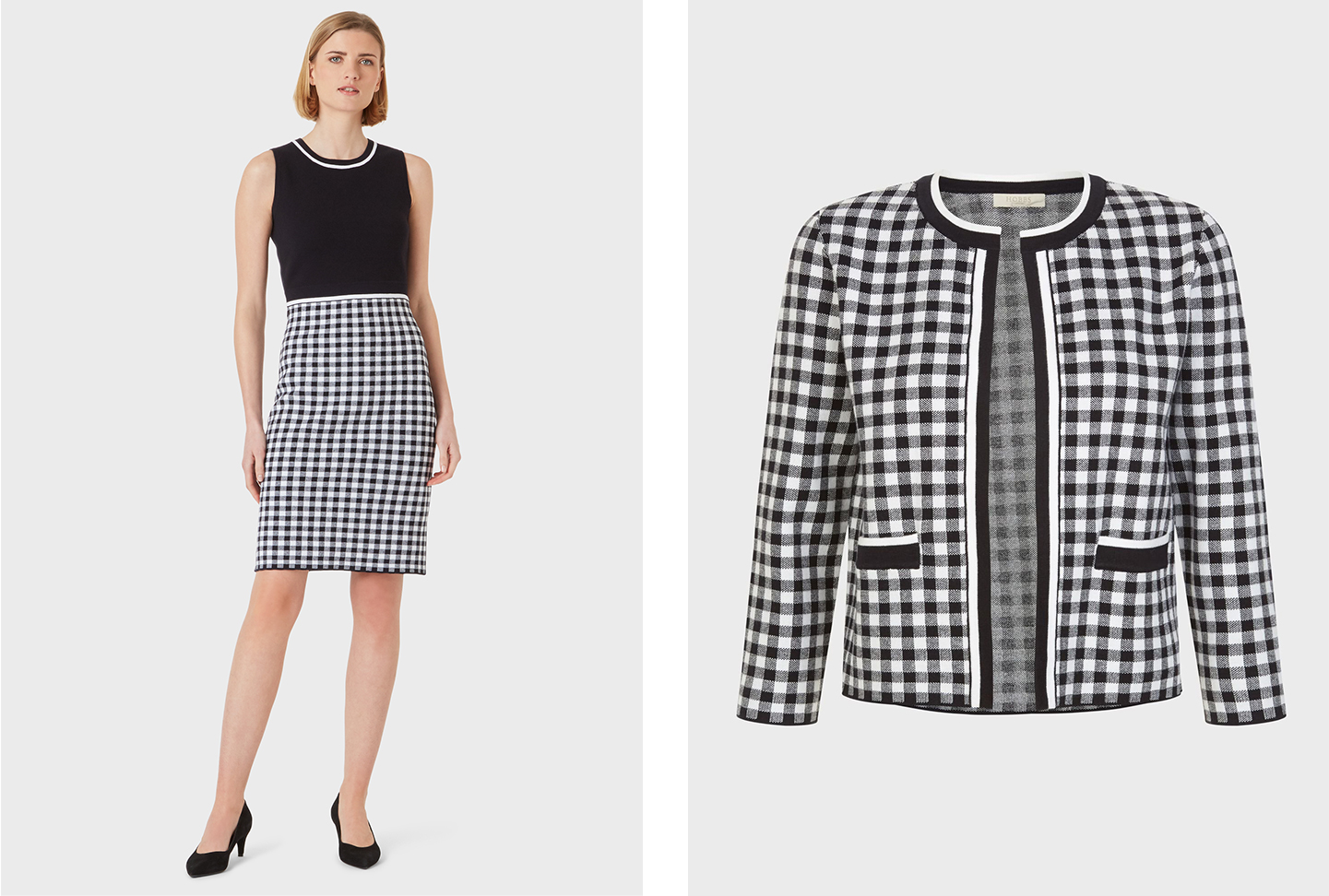 The left shows a sleeveless knitted dress with a gingham print skirt detail in black and white worn with black court shoes, pair with a matching gingham cardigan such as the one shown on the right image to coordinate the look. All from Hobbs.
