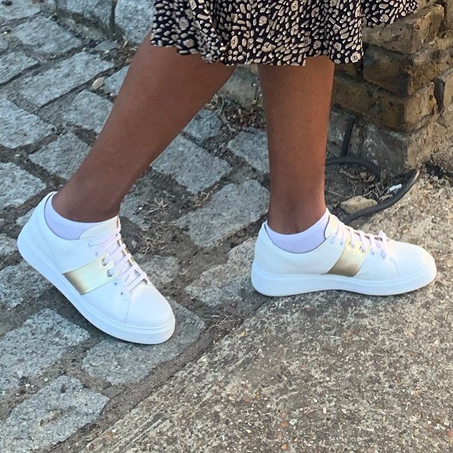 Hobbs White Leather Trainers with Gold Metallic Trim