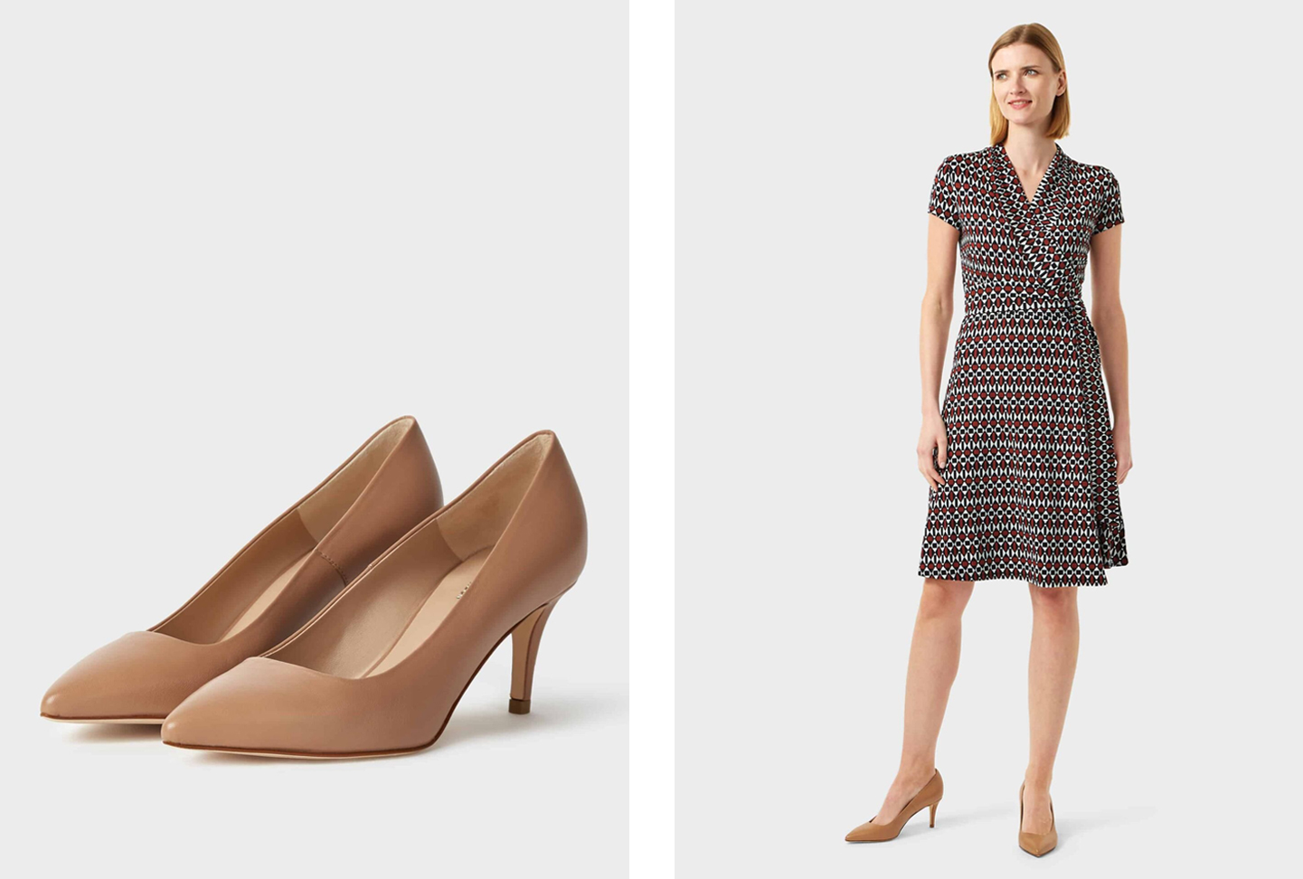 Image on the right shows a smart wrap dress paired with mid heeled nude court shoes, with a close up image of the court shoes on the left, by Hobbs.