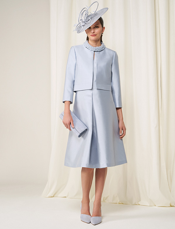 Light Blue Matching Occasion Dress and Jacket Set in Wool And Silk
