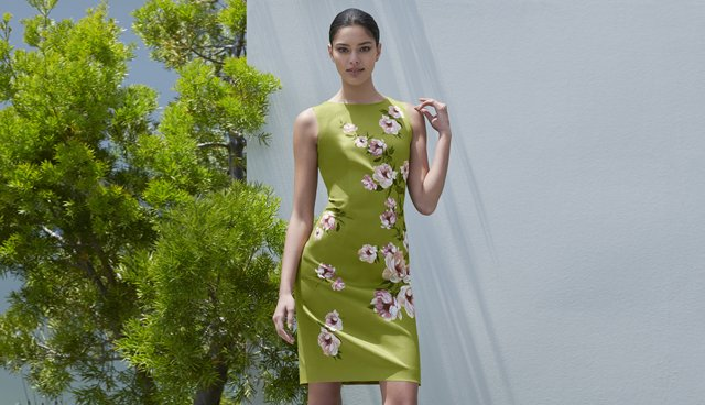 This shift dress in spring green with a pink floral print by Hobbs is ideal for weddings as a mother of the bride dress.