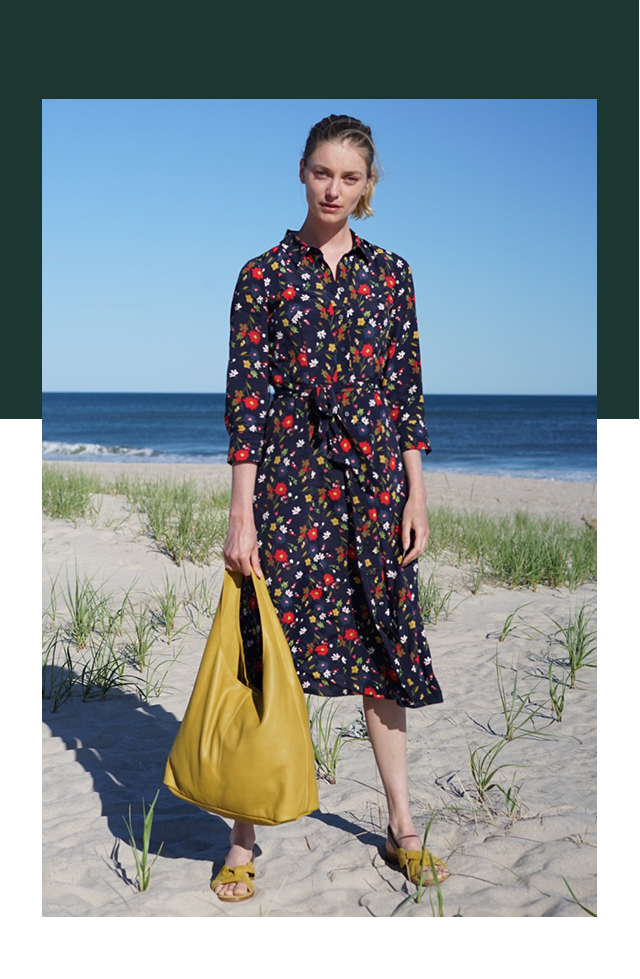 Blue Shirt Dress On the Beach