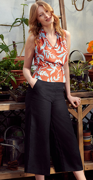 Navy Linen Trousers with Orange and Blue Print Top