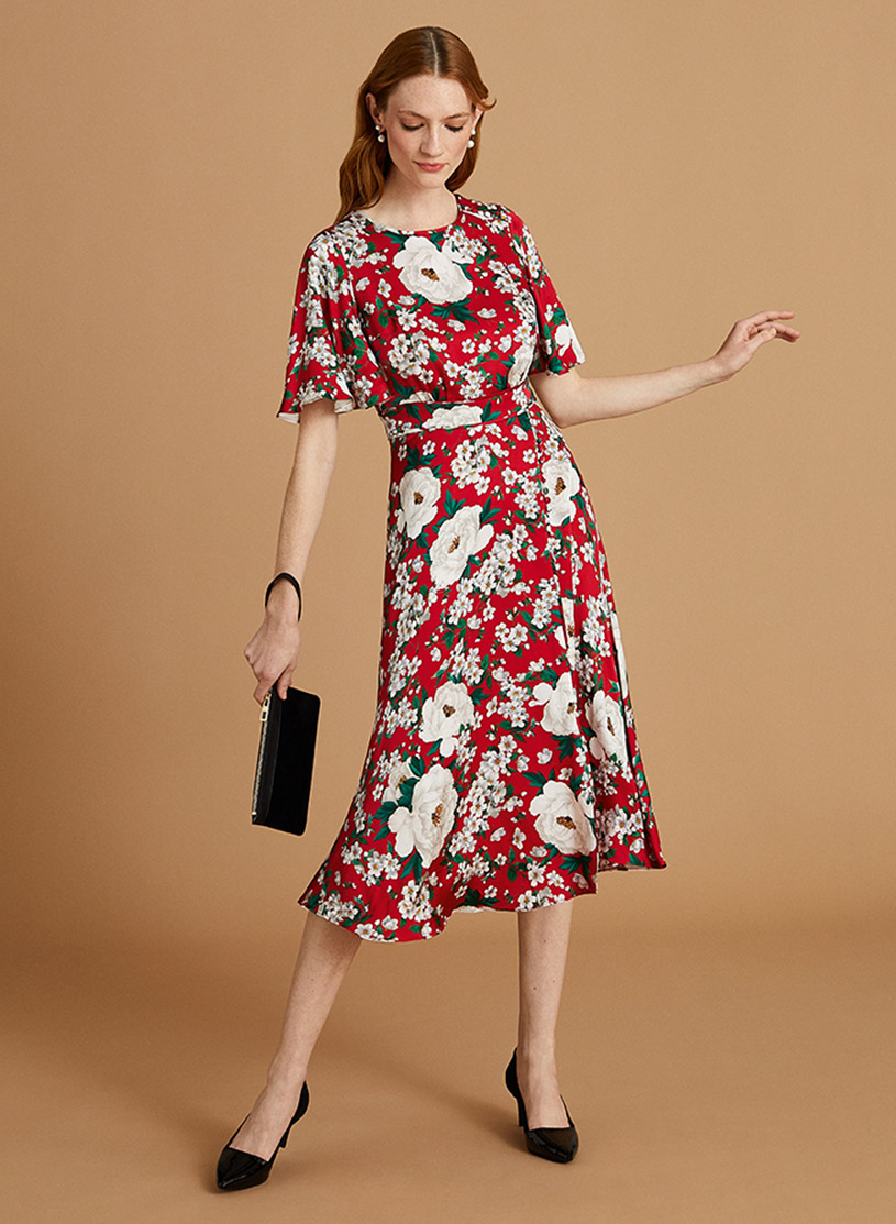 Fit and Flare Red Dress with White Floral Print with Black Heels and Wristlet