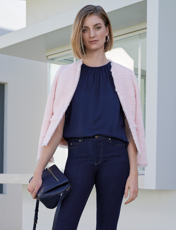 Pink Jacket over Navy top adn trouser outfit
