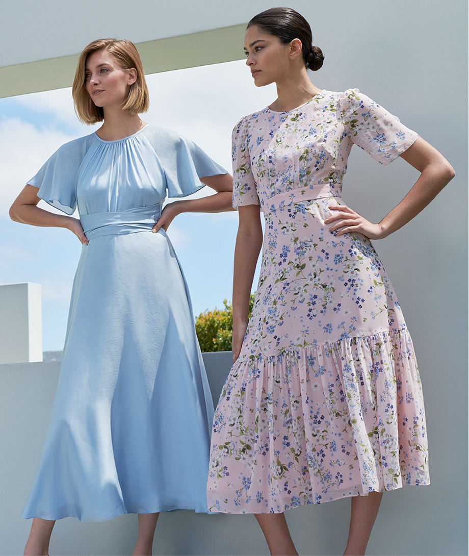 Satin fit and flare dress in pale blue and a pink midi length dress with floral details by Hobbs.