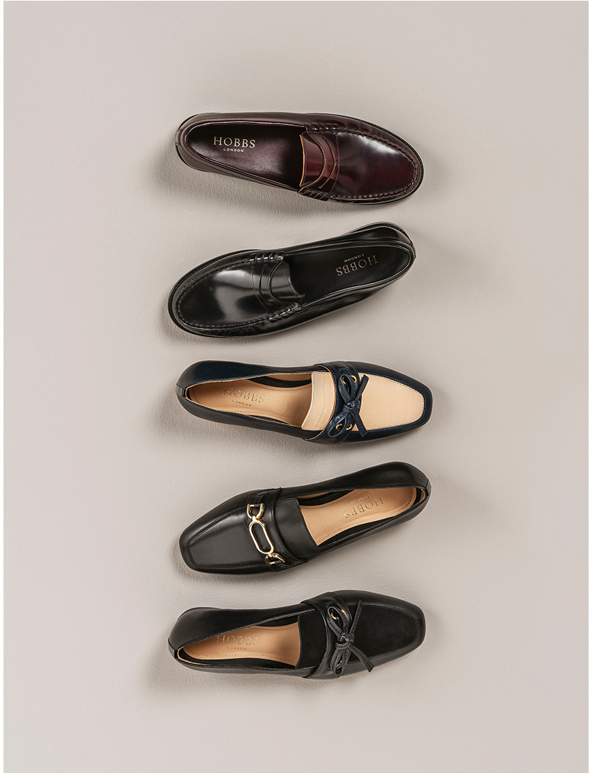 A variety of leather loafers