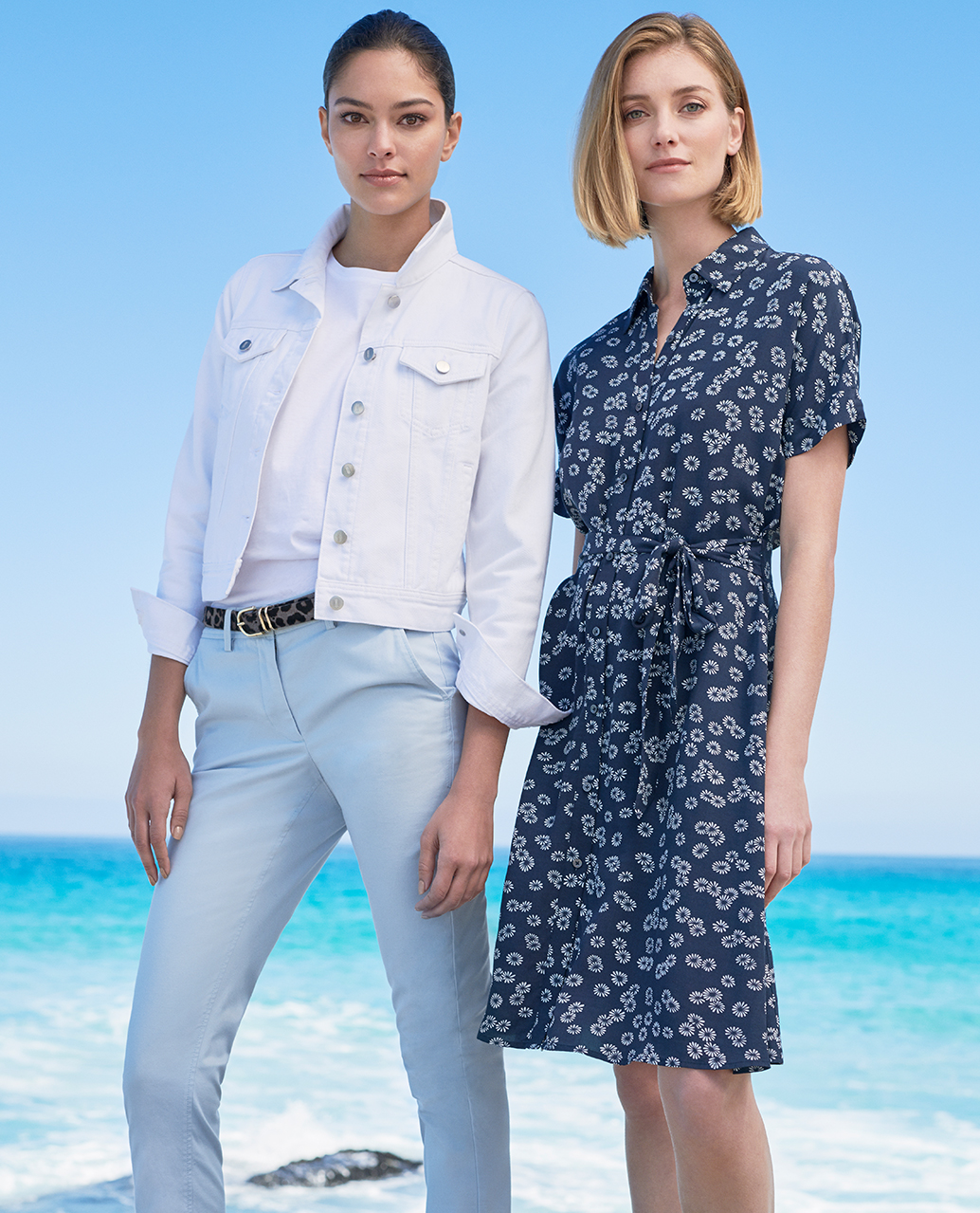 Navy shirt Dress with Ivory Floral Print and White Denim Jacket over Light Blue Chinos